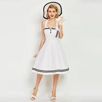 Sisjuly Vintage Dresses Summer Mid Calf Women White Sleeveless Patchwork Dress Strapless 2017 Backless Rockabilly Retro
