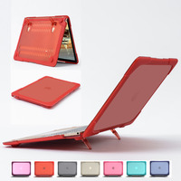 For Macbook Air 11 TPU Edge+Matte Frosted PC Laptop Case Full Protective Laptop Sleeve Cover With Foldable Holder Alabasta