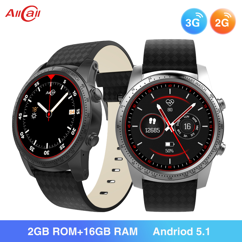 ALLCALL W1 3G/2G <font><b>Watch</b></font>-Phone MTK6580 Quad Core 1.3GHz 2GB/16GB GPS MP4 Android 5.1 <font><b>BT</b></font> 4.0 Wifi 3G Connection Smartwatch Phone image