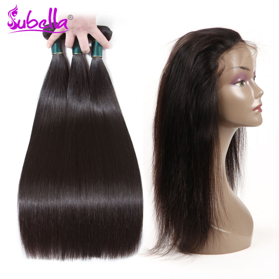Subella Straight Hair 360 Lace Frontal with Bundle 100% Human Peruvian Hair Weave 3 Bundles with Frontal Non-remy Free Shipping