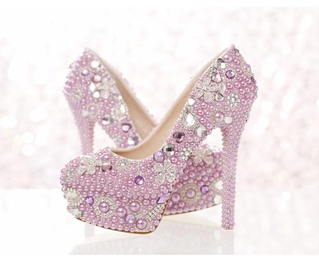 Romantische Paars Parel Bruid Schoenen Hoge Hakken met Waterdichte Taiwan Crystal 14 cm Roze Wedding vrouwen Jurk Schoenen banket