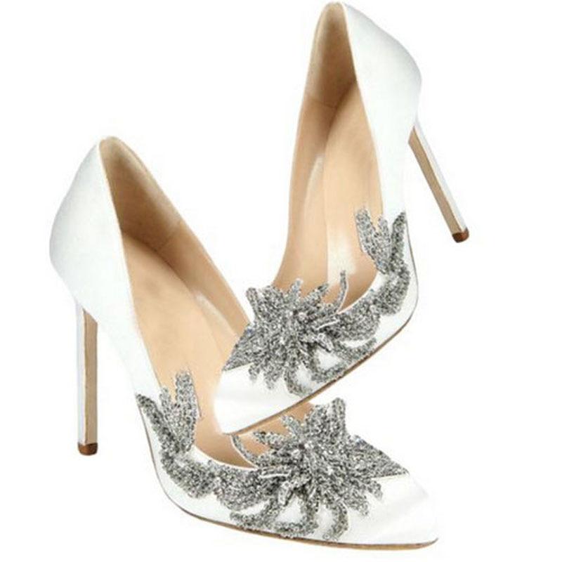 moda elegante de la boda blanca zapatos sapato noiva cristal
