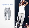 2016 Propósito Gira Justin Bieber Pantalones Corredores de Hip Hop Danza Hombres Basculador Pantalones de Compresión de Los Hombres de Gran Tamaño pantalones de Chándal