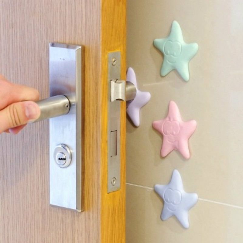 3Pcs/Lot Protection Baby Safety Shock Absorber Door Handle Bumpers Security Rubber Door Stoppers Wall Starfish Shape Protectors