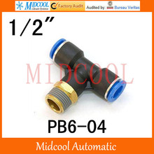 Quick connector PB6-04,6mm to 1/2″ Threaded three-way pipe, brass pneumatic components,air fitting