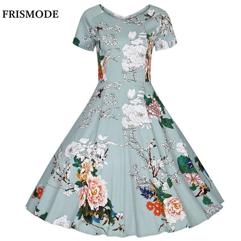 FRISMODE XS-4XL 100% Coton fleur de prunier Impression D'été Robe 2018 nouveau Floral Midi Femmes Plus La Taille Robe Vintage robe de festa