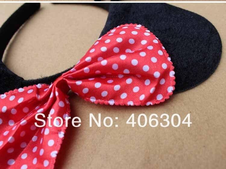 Животного Minnie Mouse Ear HEADBAND комплект повязка на голову галстук-бабочка хвост детский день рождения подарок