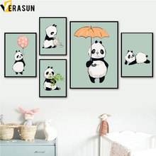 Watercolor Kawaii Panda Bamboo Leaf Wall Art Canvas Painting Nordic Posters And Prints Pictures Kids Baby Girl Room Decor