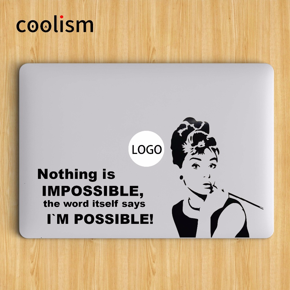 Audrey Hepburn Quote Vinyl Laptop Decal Sticker for Macbook Decal Air 13 Pro Retina 11 12 15 inch Mac Mi Notebook Skin Sticker