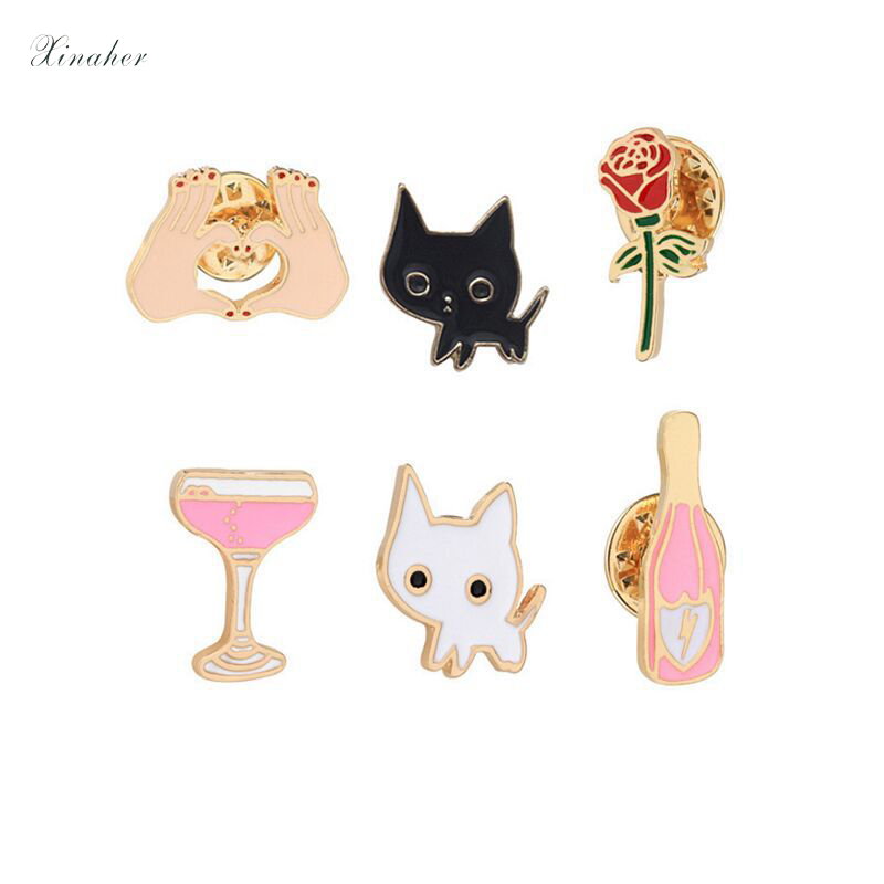 Diligent Xinaher 1pc Cartoon Rose Cat Cup Metal Brooch Button Pins Denim Jacket Pin Jewelry Decoration Badge For Clothes Lapel Pins Badges