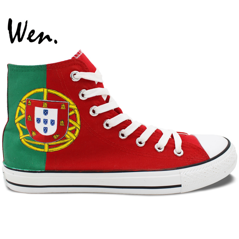 Wen Unisex Casual Sneakers Hand Painted Shoes Custom Design Portugal Flag High Top Canvas Shoes for Women Men's Gifts wen original hand painted canvas shoes space galaxy tardis doctor who man woman s high top canvas sneakers girls boys gifts