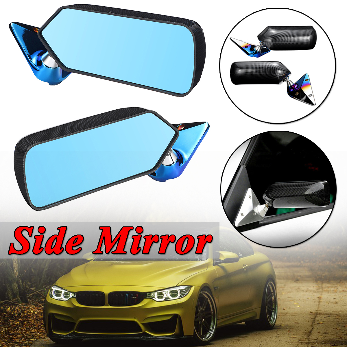A Pair Blue Universal Car Side Mirror Rearview Wing Retro Mirror Metal Bracket Side Mirror Set F1 Style Carbon Fiber Look