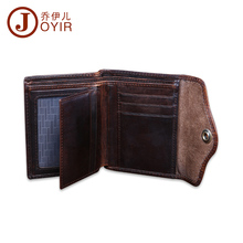 купить JOYIR Crzay Horse Leather Men Wallets Vintage Male Coin Purse Hasp Short Wallet Card Holder Genuine Leather Purse Wallets 2010 по цене 846.05 рублей