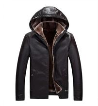 2017 New Winter Leather Jacket Men's Hoodies Coat Casual Thickening Warm Business Leather Coat