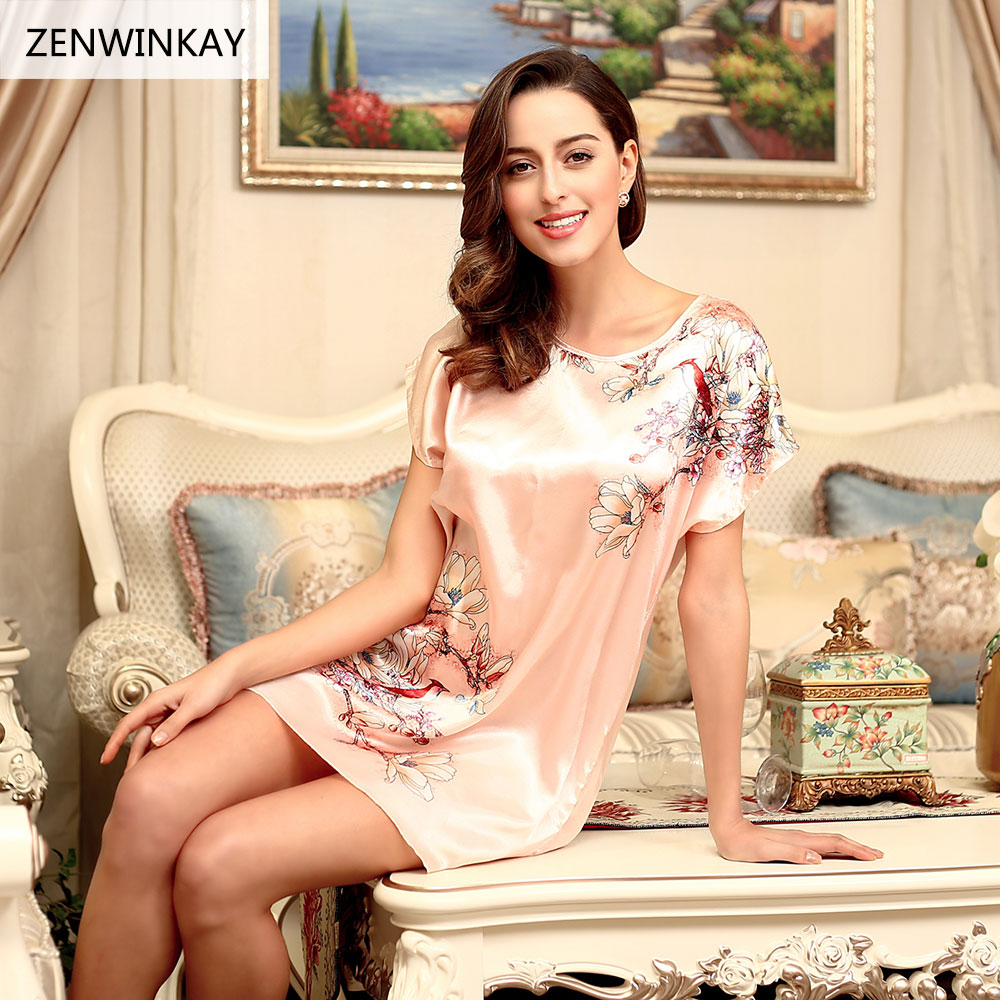 2017 Summer Short Sleeve Satin Nightdress for Women Nightwear Shorts Set Sleepwear Silk Nightgowns Sexy Silk Nighties