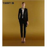 Женские Бизнес работы брючный костюм комплект Блейзер формальный тонкий элегантные двубортный женский офис форма вечерние комплект из 2 ча