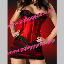Free shipping lingerie Burlesque Corset Lace Overbust Ruffle Corsets bustier fancy dress costume party Fashion corset with skirt