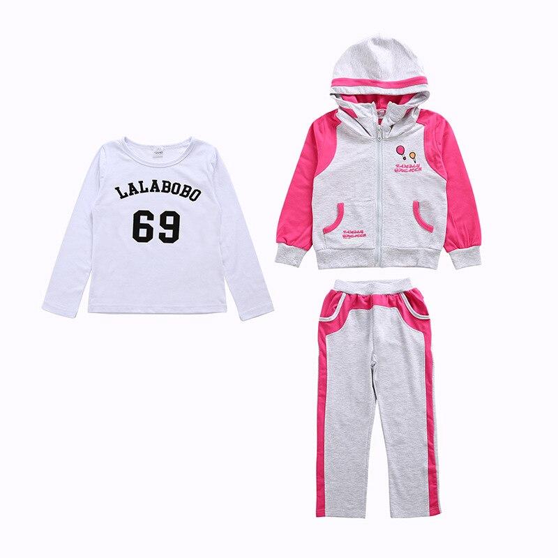 Spring Autumn Kids Clothes Sets Children Casual 3 Pcs Suit Jackets Hoodies+pants Baby Set Girls Sport Suit Outwear 4-12 Years X2