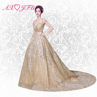 AXJFU bright stars of modern fantasy gold evening dress gorgeous golden bride evening dress dinner toast suit 8191