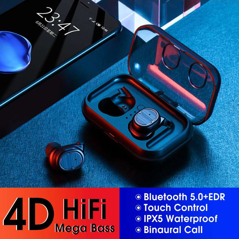 US $24 94 32% OFF|Bluetooth 5 0 Earphone Touchable Control DSP TWS True  Wireless Stereo Earbud IPX5 Waterproof Super Bass Sound Smart Headset-in