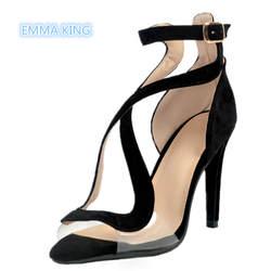 Черная замша пикантные на высоком каблуке Для Женщин римские сандалии на шпильке открытый носок; sandalias mujer полые модная обувь с пряжкой