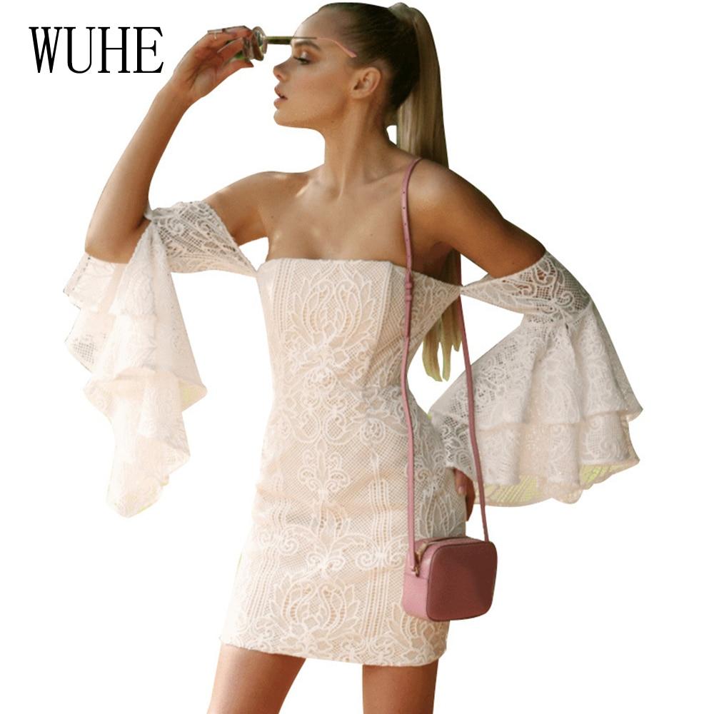 02cb3d2cb31d WUHE Cream Lace Embroidery Short Dresses Women 2018 High Quality Off  Shouder Long Flare Sleeve Bodycon Dress Autumn Mini Dress