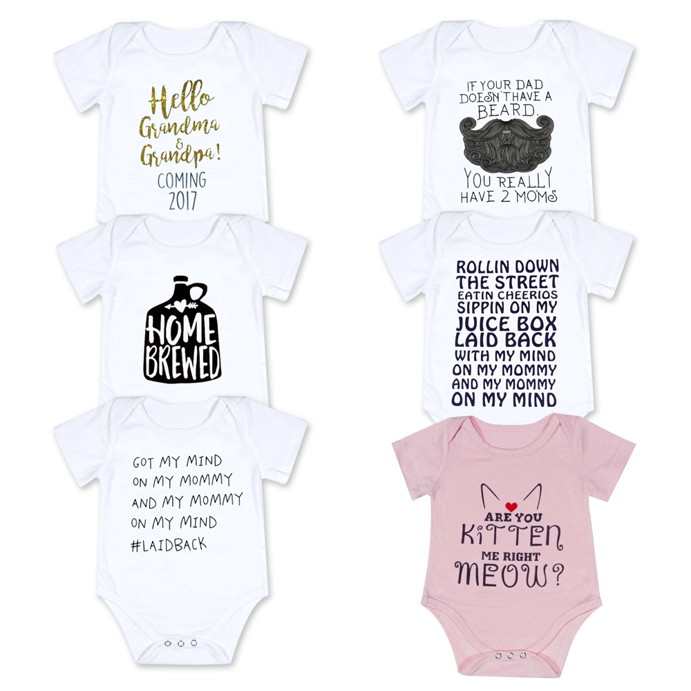 Newborn baby dog bodysuit tiny cottons 2017 baby onesie HAPPRY Birthday dady baby boy girl bodysuit jumpsuit imported clothes baby girl boy romper tiny cottons white gray long sleeve angel wings baby clothes newborn jumpsuit rompers baby onesie costume
