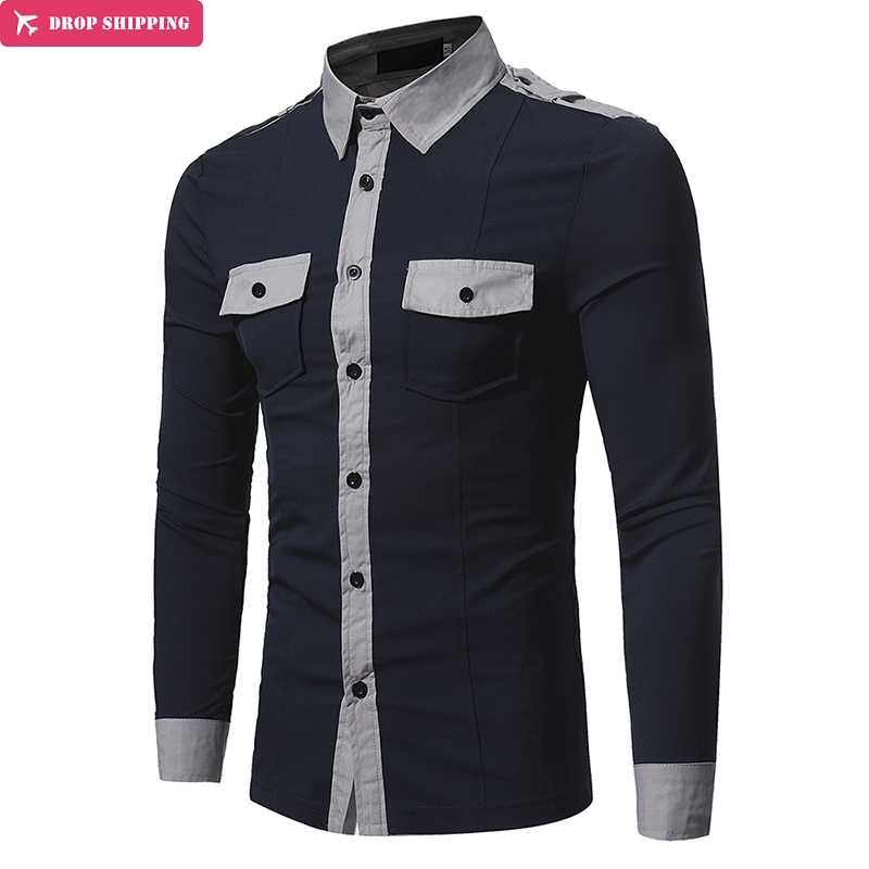 New Arrival Fashion Design Men 39 s Shirts Double Pocket Badges Long sleeved Solid Color Stand Collar Slim shirt in Casual Shirts from Men 39 s Clothing