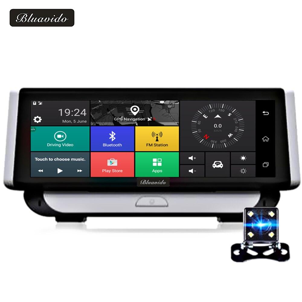 Bluavido 8 дюймов Android 4 г Видеорегистраторы для автомобилей Камера GPS навигации ADAS Full HD 1080 P видео Регистраторы dashcam Двойной объектив парковка мон…