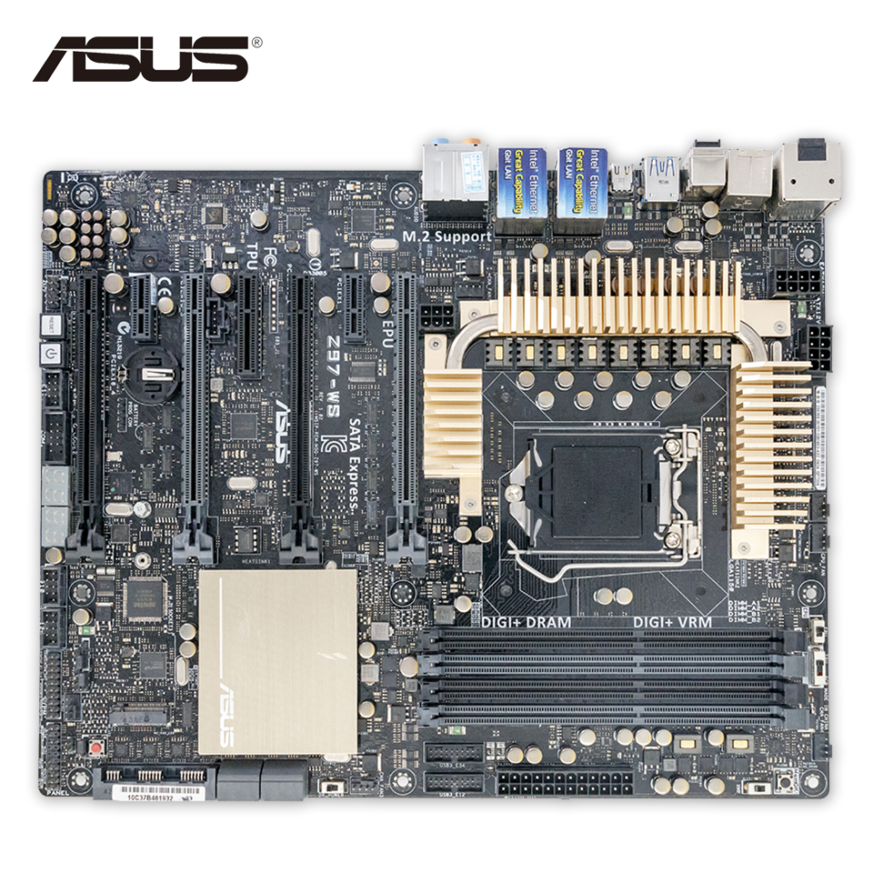 Asus Z97-WS Desktop Motherboard Z97 Socket LGA 1150 i7 i5 i3 DDR3 32G SATA3 USB3.0 ATX Second-hand High Quality отвертка softfinish t40x130 wiha 01296