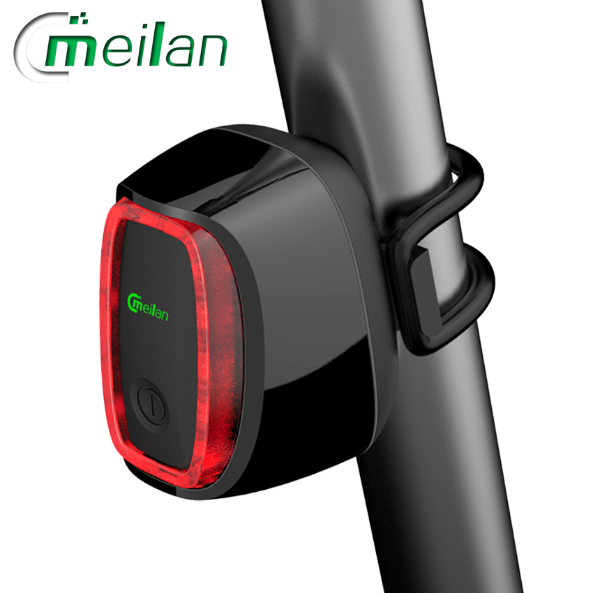 Meilan x6 smart bike light bicycle rear back led light rechargeable ce rhos fcc msds certification