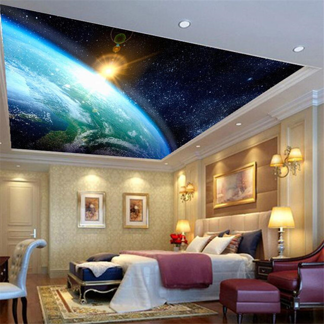 Beibehang High Quality Cloth Galactic Dream Wallpaper Cosmic Sky Ceiling For Walls 3