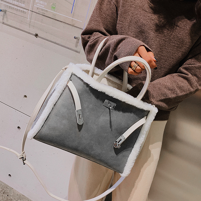 Korean handbag large capacity bucket hand bag designer big tote designer Fur women messengerc winter shopping wool no lock 77