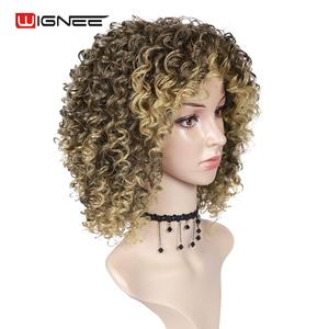 Image 3 - Wignee Blonde Wig With Bangs High Temperature Human Curly hair wig Synthetic Wigs For Black Women African American Natural Wigs
