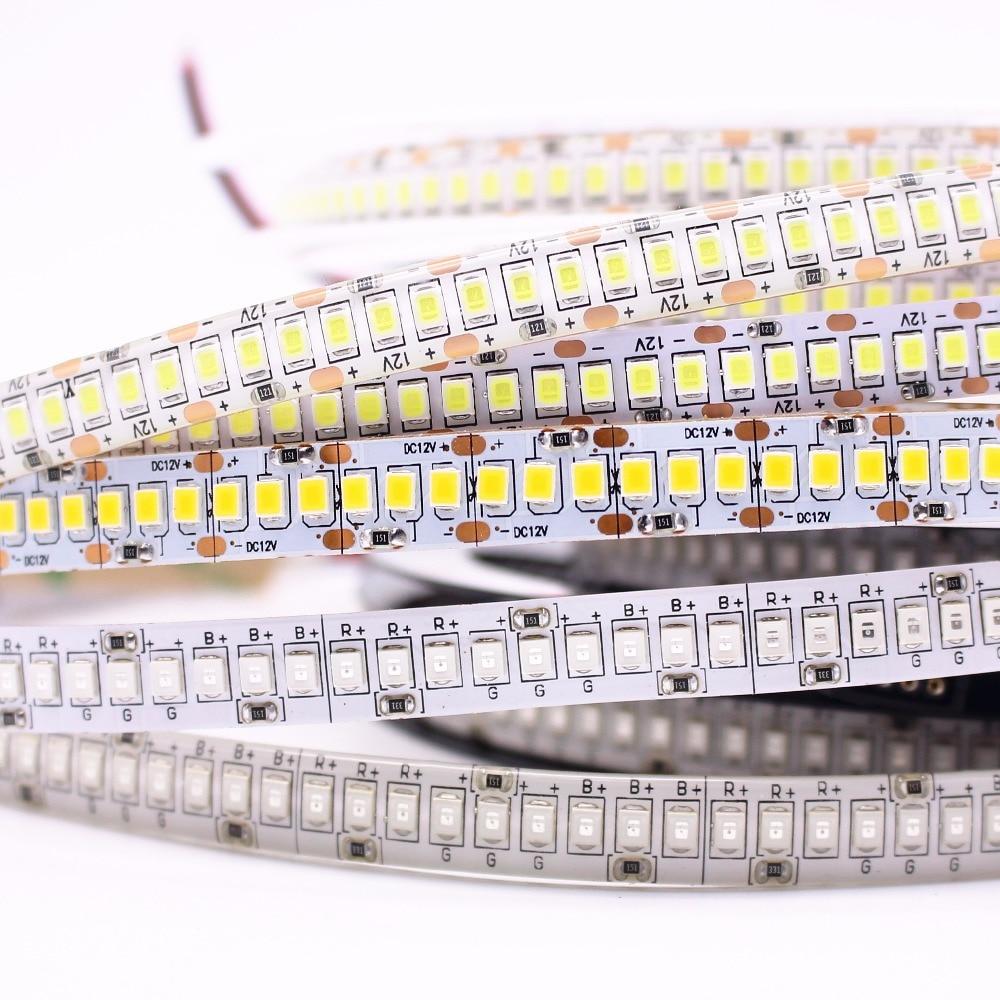 New 240 LED/m Horse Race 5m Single Row 2835 LED Strip 12V 1200 SMD Flexible Tape Cold White Warm White RGB Waterproof free ship