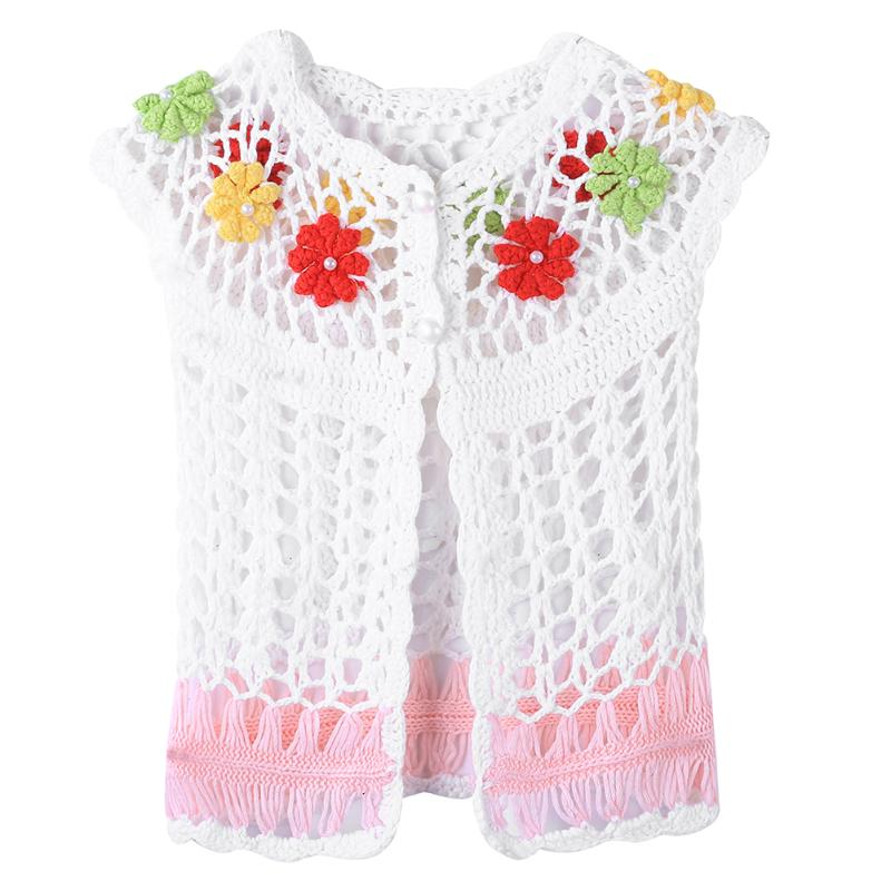 Summer Handmade Baby Girls Short Sleeve Crochet Knitted Cardigan Waistcoat Toddler Children Knitwear Waistcoat Vest