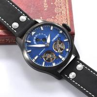 47mm Top Luxury Brand Corgeut Mens Watches lumonius flywheel date Sport Clock lume PVD Case Automatic Mechanical Wristwatches
