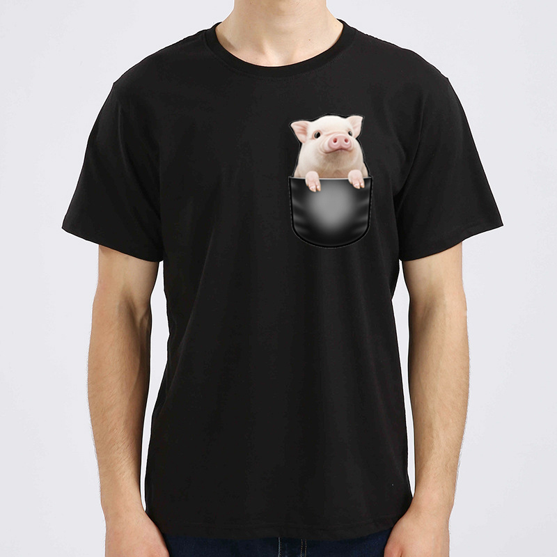 Cute 3D Pig In Pocket Print Mens T-shirt 2018 Fashion Black Hip Pop Funny Hipster Top Summer Novelty Tee Shirt KA005