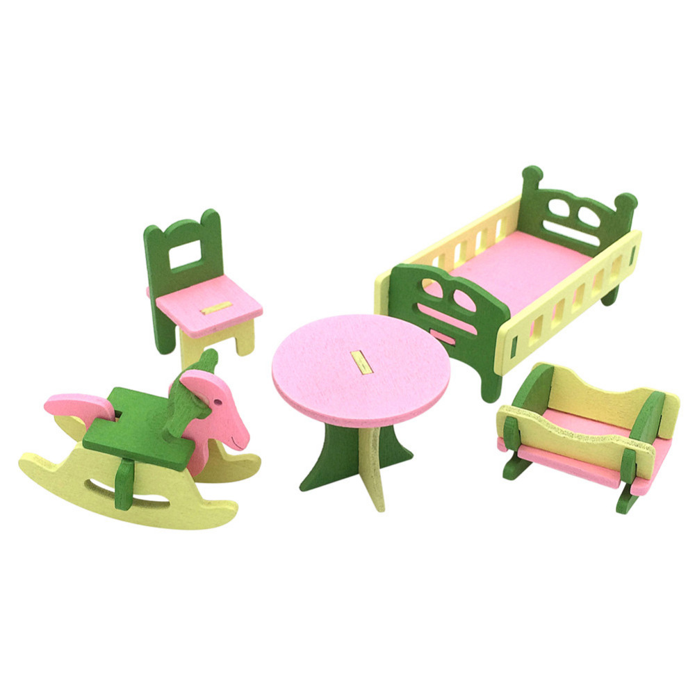 1 set/5pcs Baby Wooden Dollhouse Furniture Dolls House Miniature Child Play Toys Gifts ...