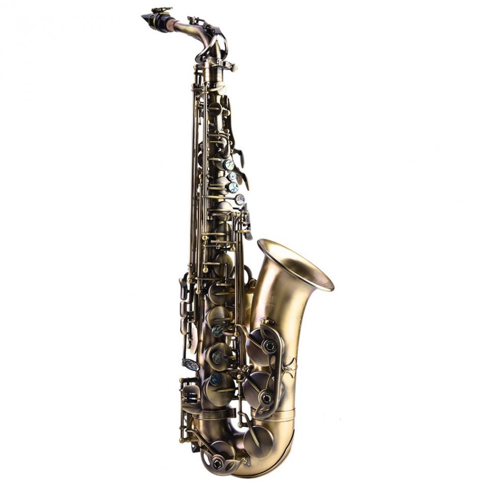Professional Retro Style Bronze Alto Eb Saxophone Curved Horn Sax Instrument with Bag St ...