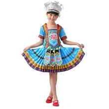 Niñas ropa hmong miao ropa de danza folclórica china traje de niño traje tradicional chino plisado falda Con El Sombrero