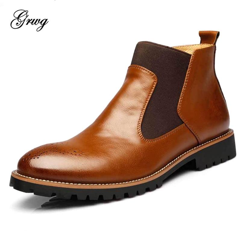 Mode Männer Chelsea Boots Echtem Rindsleder Männer Herbst Frühling - Herrenschuhe