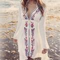 Новые Поступления Пляж Cover up Вышивка Старинные Купальники Дамы Туники Кафтан Пляж Платье Пляж Носить Женщины Одеяние Plage de # Q17