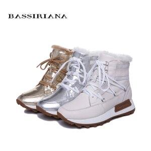 Image 4 - BASSIRIANA جديد الشتاء حذاء كاجوال بنعل سميك ، السيدات موضة جلد طبيعي الفراء الطبيعي الأحذية الدافئة مع وحيد مسطح