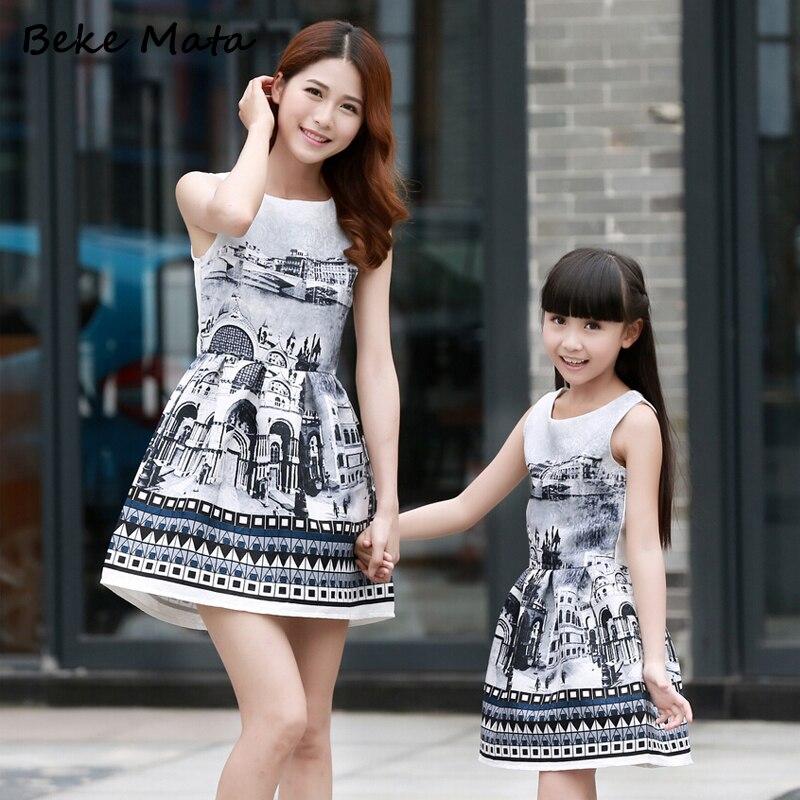 Avrupa-Amerikan Tarzı Anne Kızı Elbiseler 2016 Yaz Baskı Aile - Çocuk Giyim - Fotoğraf 2