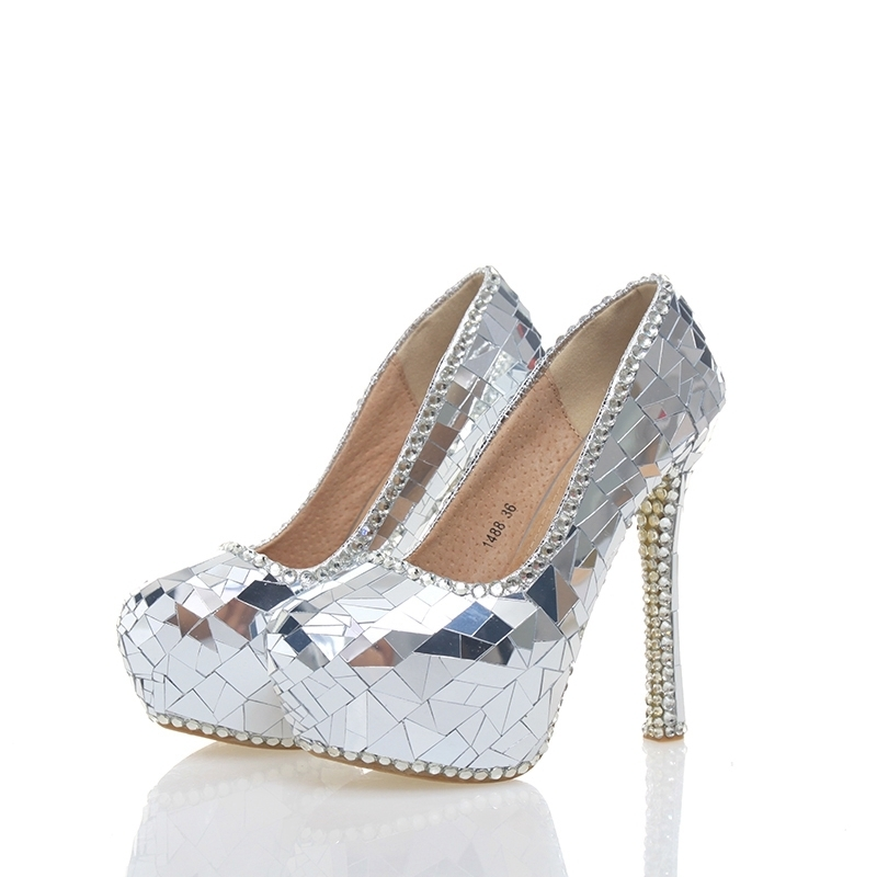 2018 Gorgeous Silver Crystal Bride Wedding Party High Heels Handmade Cinderella Prom Event Shoes Crystal Banquet Pumps Size 43