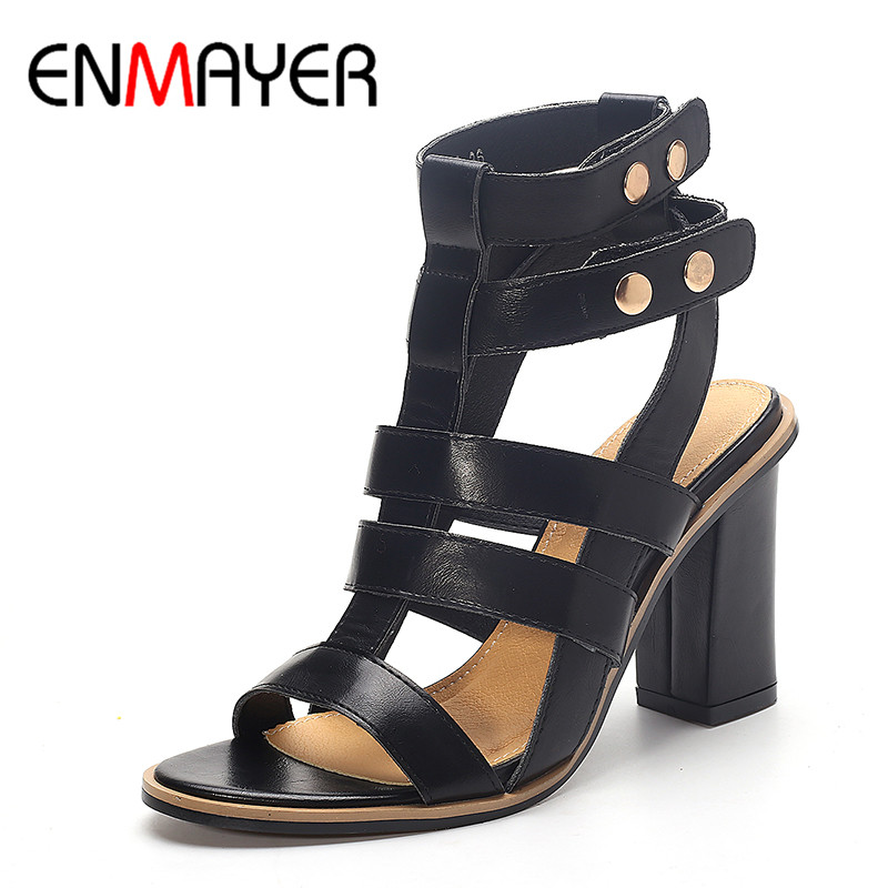 ФОТО ENMAYER Open Toe Summer Woman Platform Sandals Gladiator Hook Slingback Plus Size 34-43 Cross-tied Cuts-outs High Heels Sandals