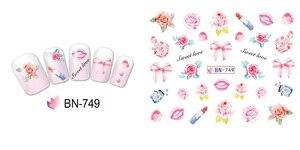 Image 2 - 12 упак./лот переводка NAIL ART наклейки для ногтей на День святого Валентина Свадебный поцелуй сердце губы, с цветочным принтом «розы» со стразами BN745 756
