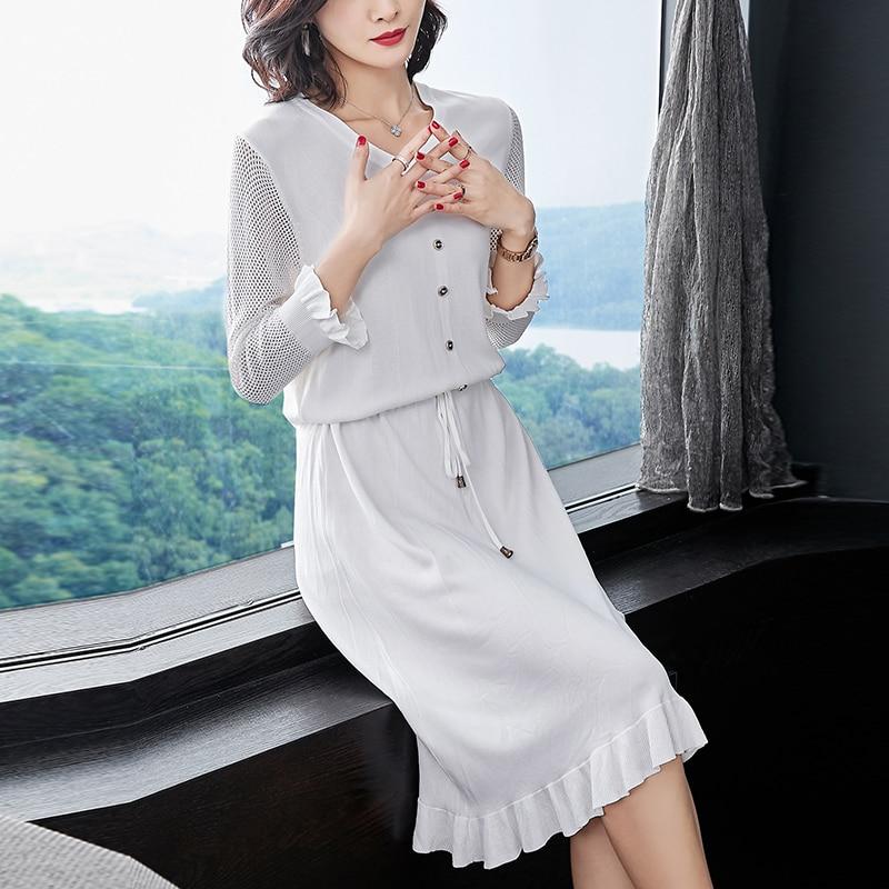 611b8560c21 Hülse Hohe Mode Dünne Kleid Qualität Frühling Dame Strickkleid Sommer weiß  Hohl Schmetterling Schwarzes Knit Onwk0P
