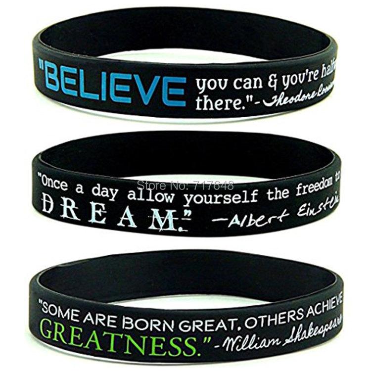 300PCS Believe Dream Greatness Inspirational wristband silicone bracelets free shipping by FEDEX